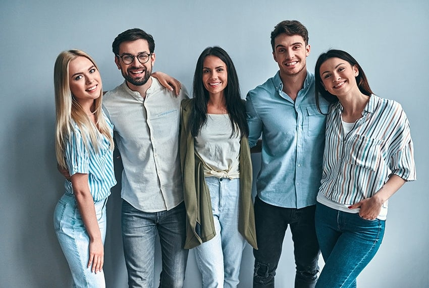 A group of Millennials hanging out together. Floss Bar brings dentists and hygienists to the workplace so that people can see the dentist more conveniently.